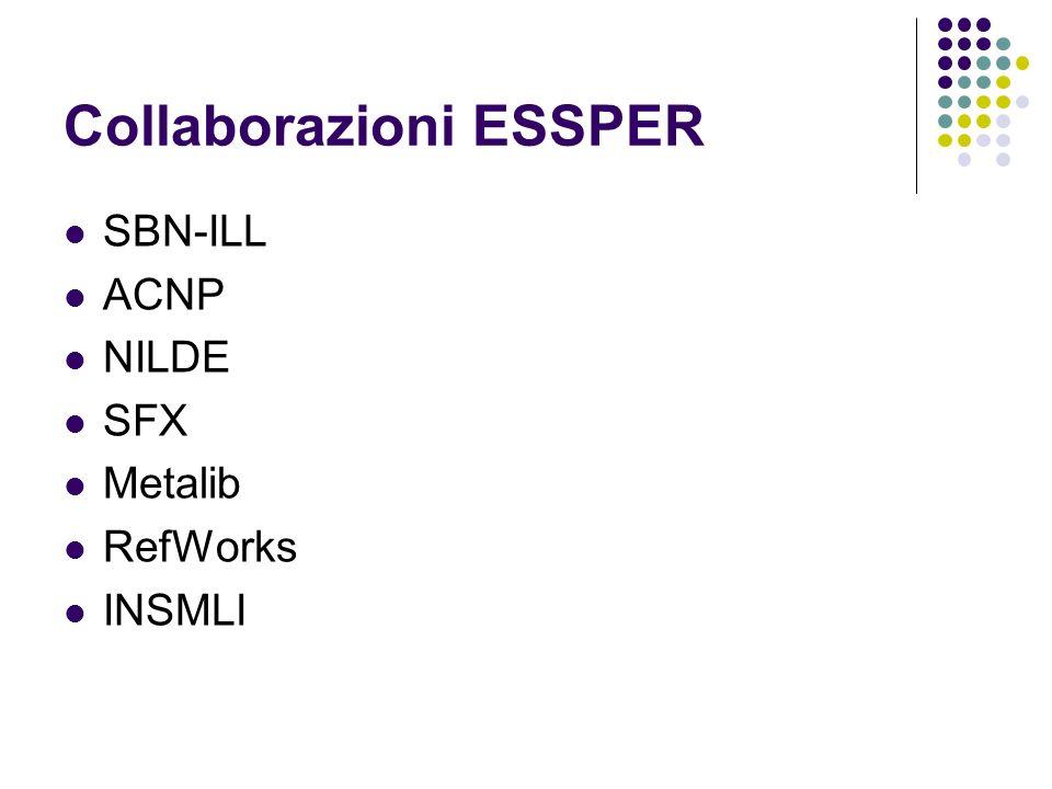 Collaborazioni ESSPER SBN-ILL ACNP NILDE SFX Metalib RefWorks INSMLI