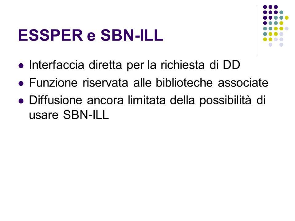 ESSPER e SBN-ILL Interfaccia diretta per la richiesta di DD Funzione riservata alle biblioteche associate Diffusione ancora limitata della possibilità di usare SBN-ILL