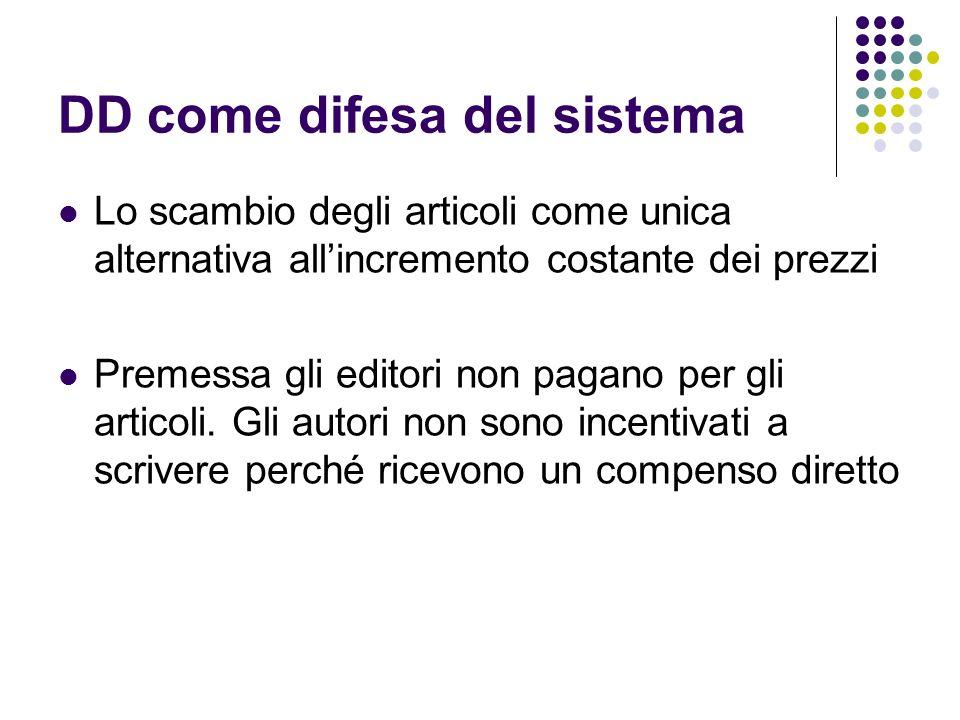 DD come difesa del sistema Lo scambio degli articoli come unica alternativa allincremento costante dei prezzi Premessa gli editori non pagano per gli articoli.