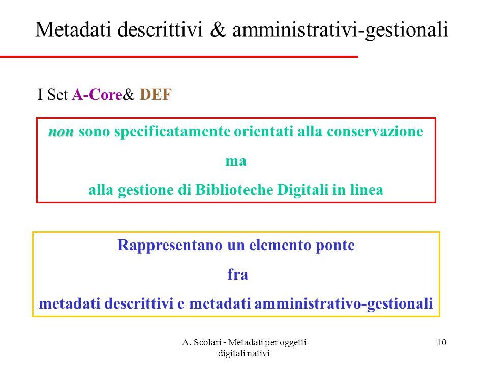 A. Scolari - Metadati per oggetti digitali nativi 10 Metadati descrittivi & amministrativi-gestionali non non sono specificatamente orientati alla con