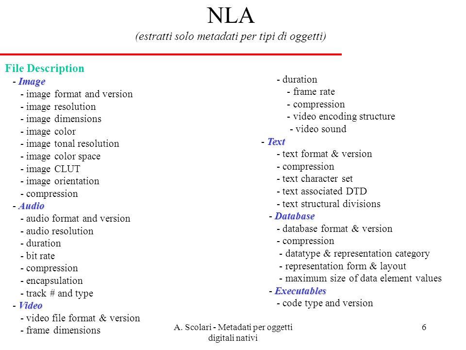 A. Scolari - Metadati per oggetti digitali nativi 6 NLA (estratti solo metadati per tipi di oggetti) File Description Image - Image - image format and