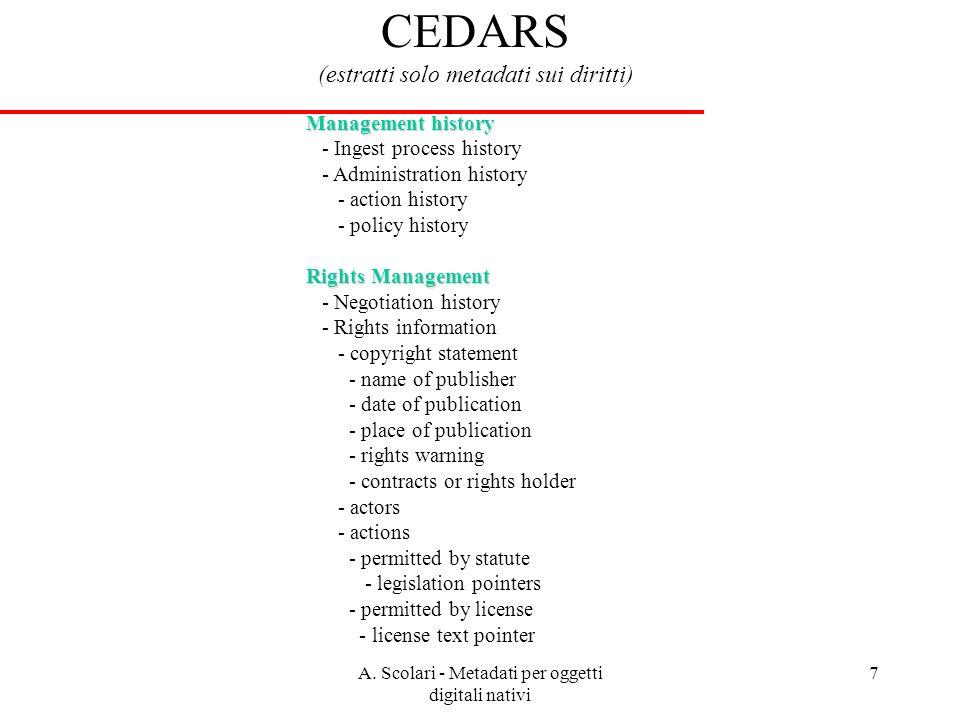 A. Scolari - Metadati per oggetti digitali nativi 7 CEDARS (estratti solo metadati sui diritti) Management history - Ingest process history - Administ