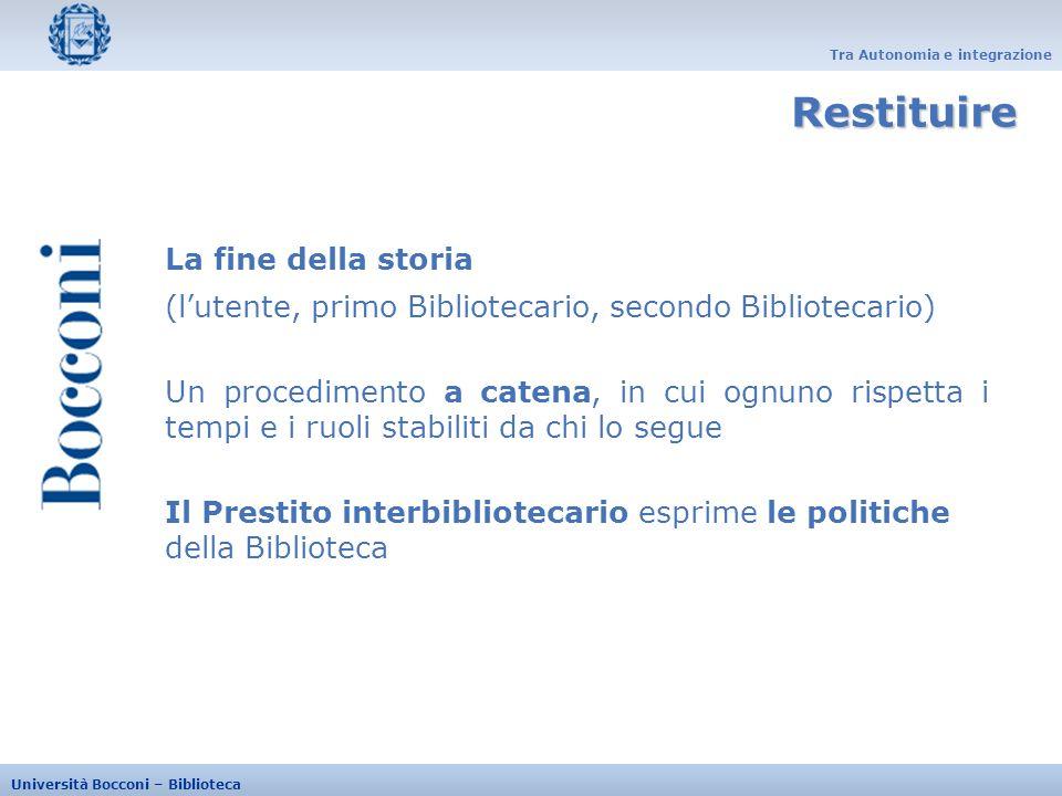 Tra Autonomia e integrazione Università Bocconi – Biblioteca La fine della storia (lutente, primo Bibliotecario, secondo Bibliotecario) Un procediment