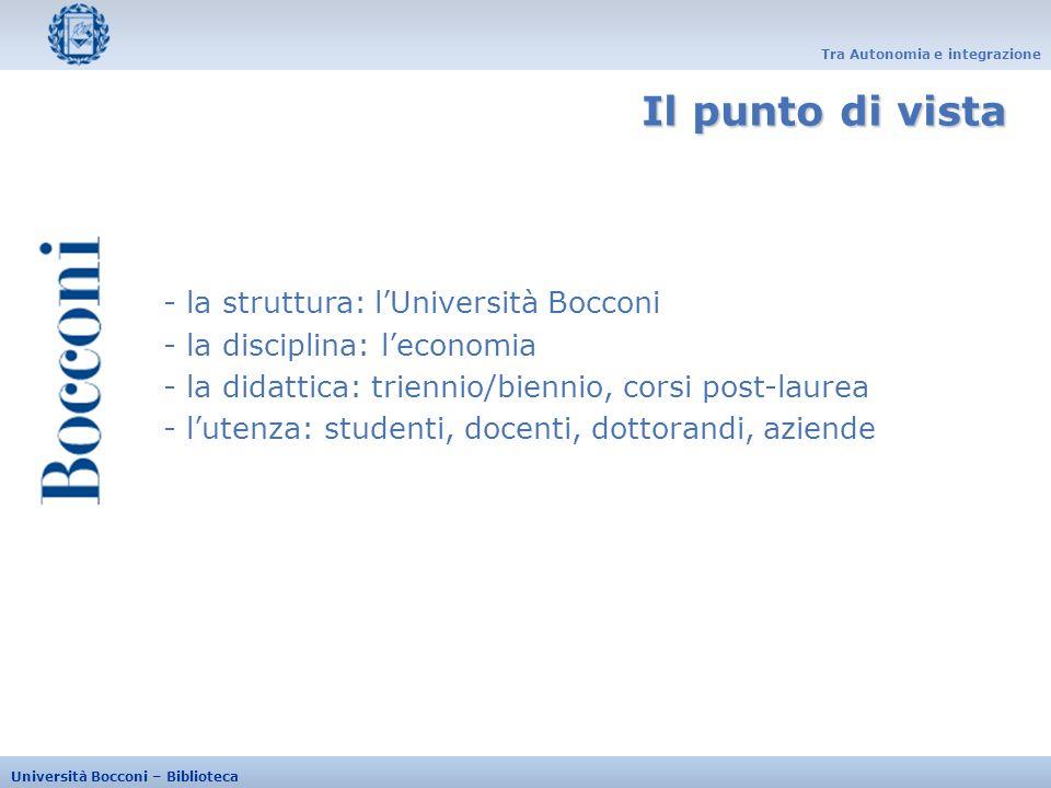 Tra Autonomia e integrazione Università Bocconi – Biblioteca - Dal 1992 - Automazione: Aleph, Millennium (2005) - 3 bibliotecari (2FTE, 1 PTE) - 350 biblioteche italiane / 120 biblioteche straniere - 1700 transazioni annuali complessive (2006): 33% prestiti, 57% fotocopie - 46% transazioni con lestero (borrowing) - 400 richieste Intercampus delivery (40%libri, 60% articoli) Lesperienza
