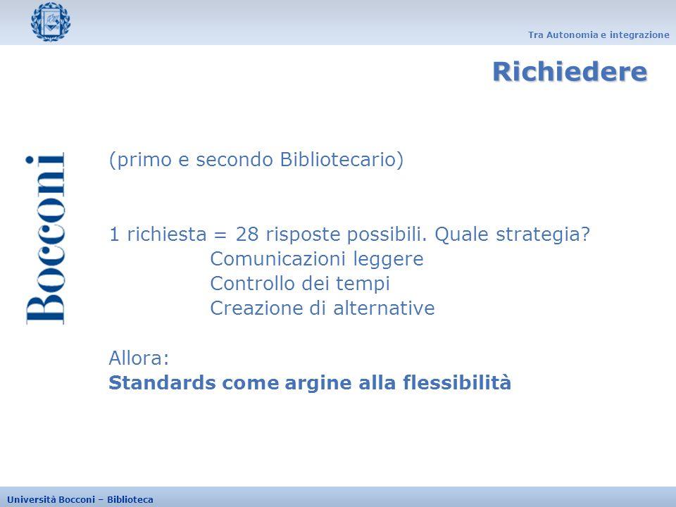 Tra Autonomia e integrazione Università Bocconi – Biblioteca (primo e secondo Bibliotecario) 1 richiesta = 28 risposte possibili. Quale strategia? Com