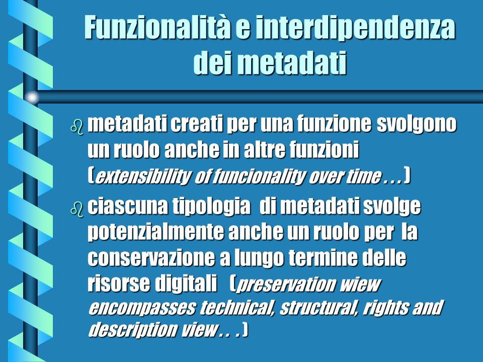 Funzionalità e interdipendenza dei metadati b metadati creati per una funzione svolgono un ruolo anche in altre funzioni ( extensibility of funcionali