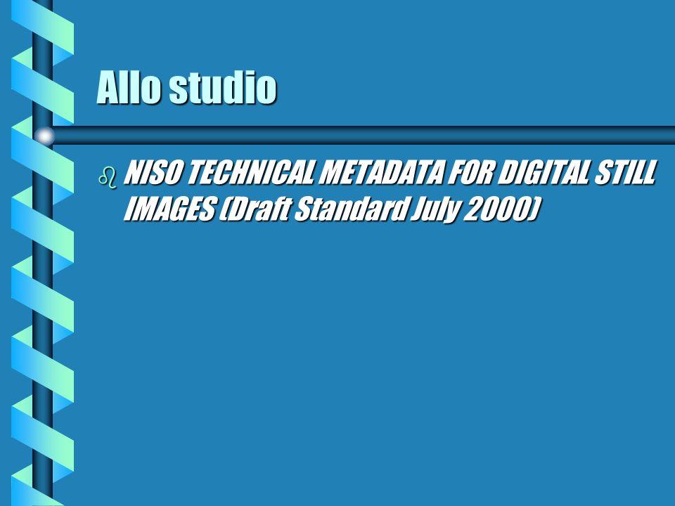 Allo studio b NISO TECHNICAL METADATA FOR DIGITAL STILL IMAGES (Draft Standard July 2000)