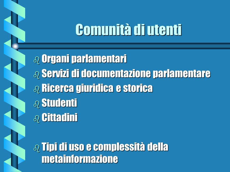 Comunità di utenti b Organi parlamentari b Servizi di documentazione parlamentare b Ricerca giuridica e storica b Studenti b Cittadini b Tipi di uso e