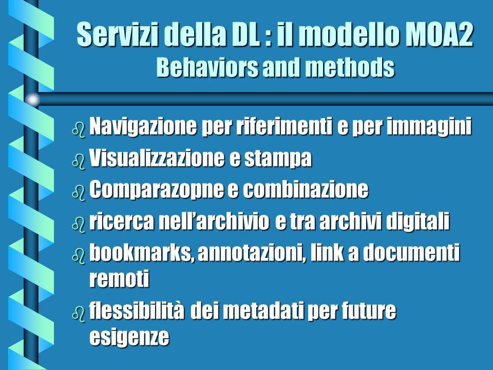Servizi della DL : il modello MOA2 Behaviors and methods b Navigazione per riferimenti e per immagini b Visualizzazione e stampa b Comparazopne e comb