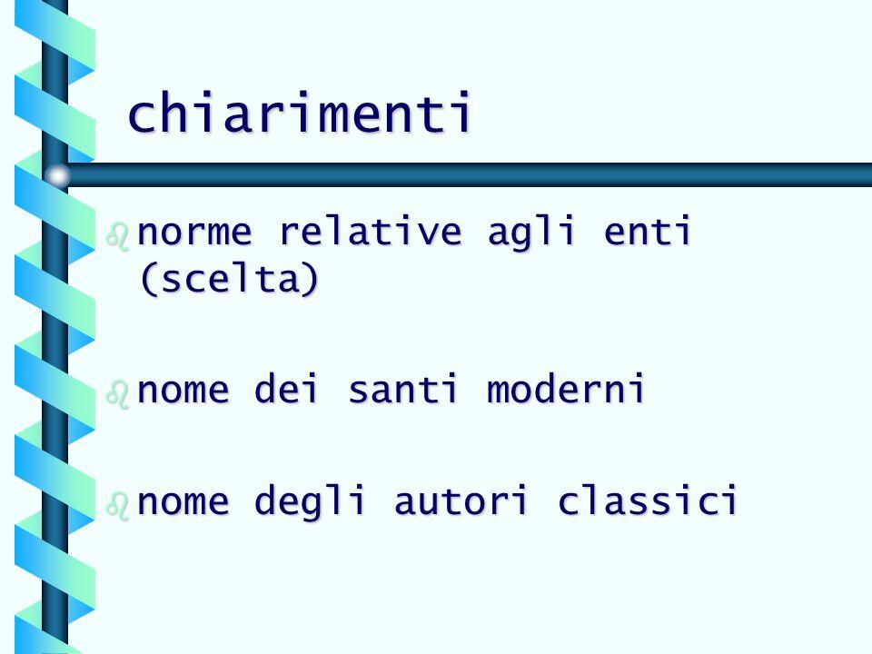 chiarimenti b norme relative agli enti (scelta) b nome dei santi moderni b nome degli autori classici