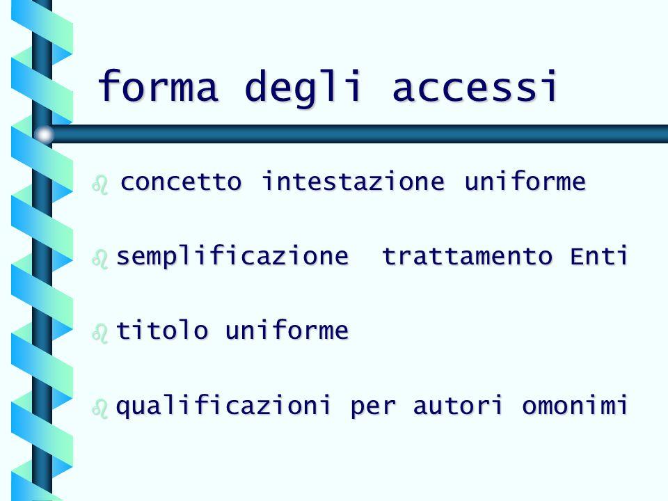 forma degli accessi concetto intestazione uniforme concetto intestazione uniforme b semplificazione trattamento Enti b titolo uniforme b qualificazioni per autori omonimi
