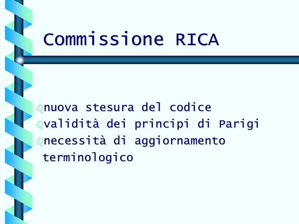 Commissione RICA b nuova stesura del codice b validità dei principi di Parigi b necessità di aggiornamento terminologico terminologico