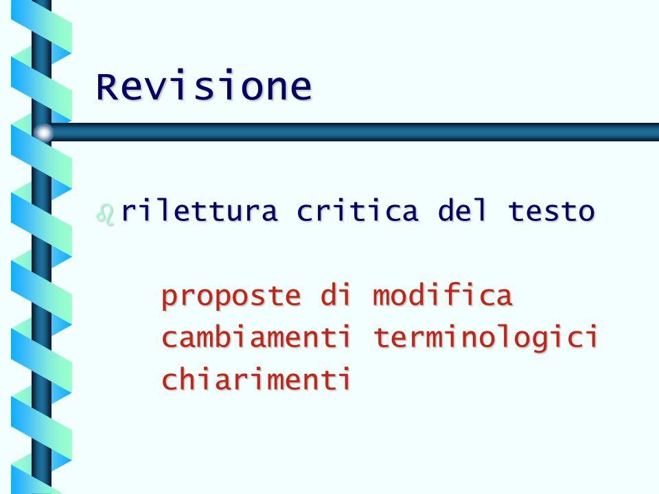 Revisione b rilettura critica del testo proposte di modifica cambiamenti terminologici chiarimenti