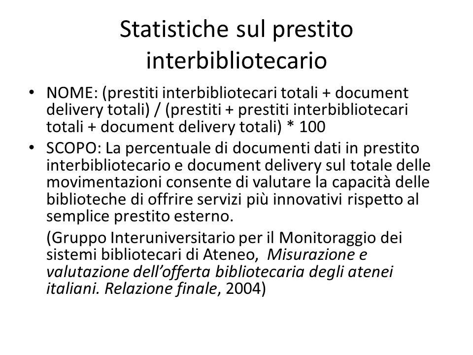 Statistiche sul prestito interbibliotecario NOME: (prestiti interbibliotecari totali + document delivery totali) / (prestiti + prestiti interbibliotec