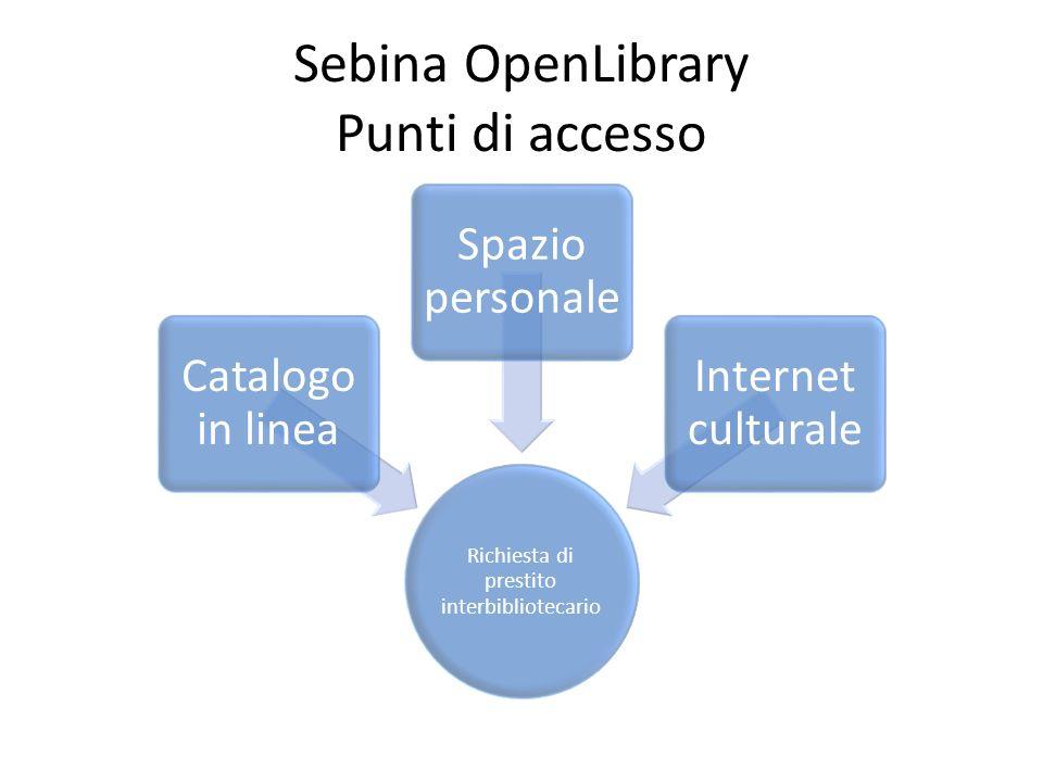 Sebina OpenLibrary Punti di accesso Richiesta di prestito interbibliotecario Catalogo in linea Spazio personale Internet culturale