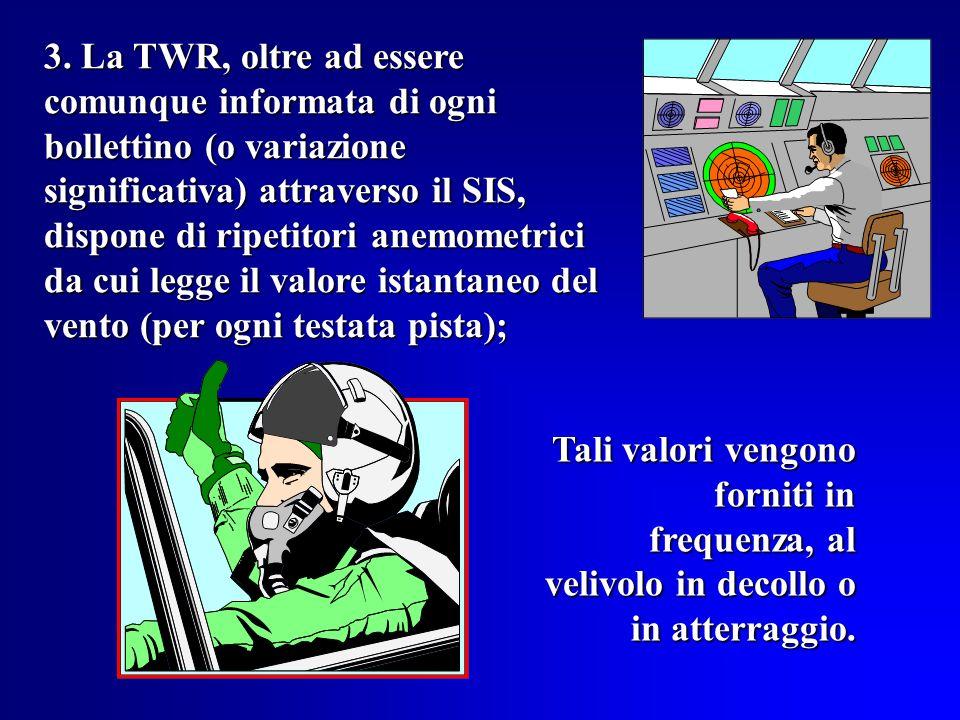 2 RILEVAMENTO DEL VENTO AL SUOLO 1. Linformazione viene fornita dalla locale Stazione Meteorologica, a seguito di lettura dallanemografo della direzio