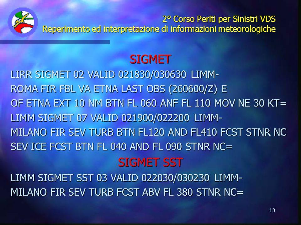 13 2° Corso Periti per Sinistri VDS Reperimento ed interpretazione di informazioni meteorologiche SIGMET LIRR SIGMET 02 VALID 021830/030630 LIMM- ROMA