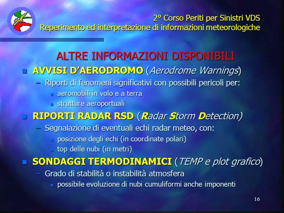 16 2° Corso Periti per Sinistri VDS Reperimento ed interpretazione di informazioni meteorologiche ALTRE INFORMAZIONI DISPONIBILI n AVVISI DAERODROMO (