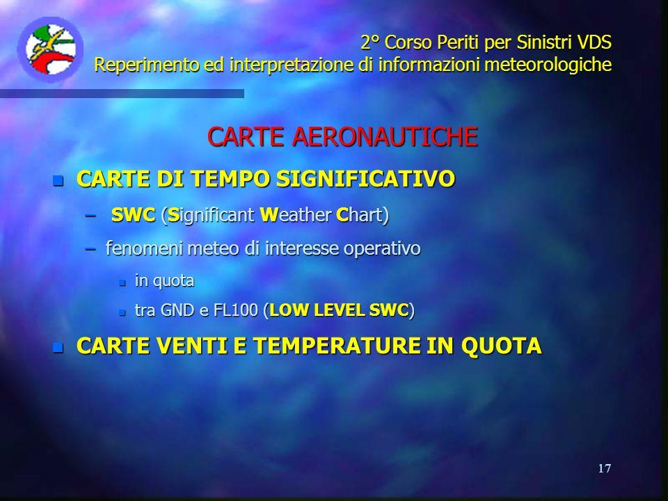17 2° Corso Periti per Sinistri VDS Reperimento ed interpretazione di informazioni meteorologiche CARTE AERONAUTICHE n CARTE DI TEMPO SIGNIFICATIVO –