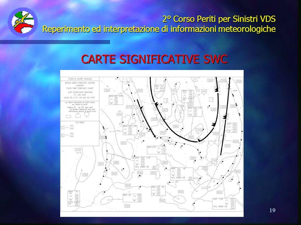 19 2° Corso Periti per Sinistri VDS Reperimento ed interpretazione di informazioni meteorologiche CARTE SIGNIFICATIVE SWC