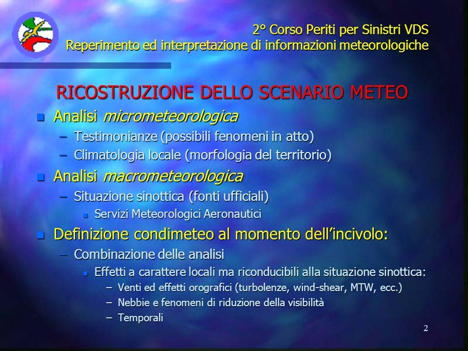 2 2° Corso Periti per Sinistri VDS Reperimento ed interpretazione di informazioni meteorologiche RICOSTRUZIONE DELLO SCENARIO METEO n Analisi micromet