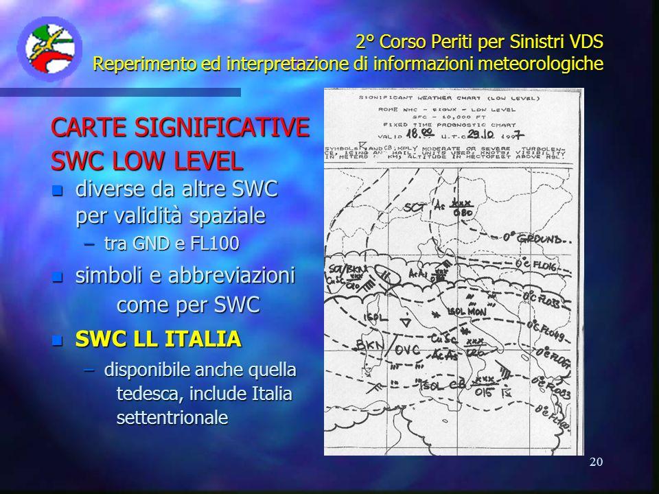 20 2° Corso Periti per Sinistri VDS Reperimento ed interpretazione di informazioni meteorologiche CARTE SIGNIFICATIVE SWC LOW LEVEL n diverse da altre