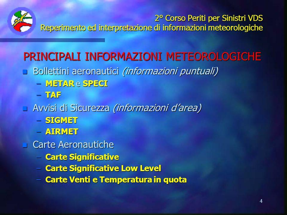 4 2° Corso Periti per Sinistri VDS Reperimento ed interpretazione di informazioni meteorologiche PRINCIPALI INFORMAZIONI METEOROLOGICHE n Bollettini a