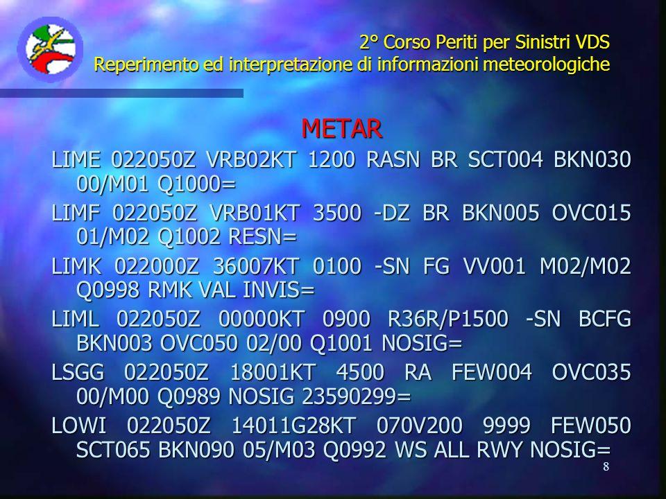 8 2° Corso Periti per Sinistri VDS Reperimento ed interpretazione di informazioni meteorologiche METAR LIME 022050Z VRB02KT 1200 RASN BR SCT004 BKN030