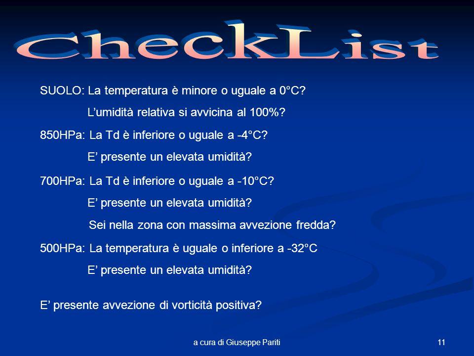 11a cura di Giuseppe Pariti SUOLO: La temperatura è minore o uguale a 0°C.