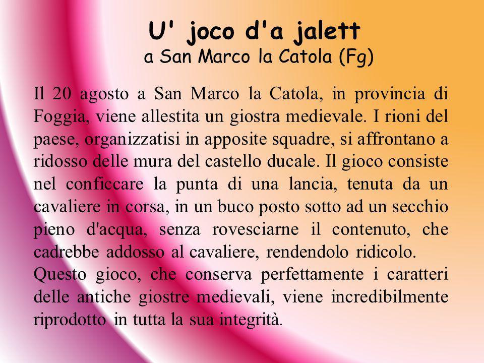 Il 20 agosto a San Marco la Catola, in provincia di Foggia, viene allestita un giostra medievale. I rioni del paese, organizzatisi in apposite squadre