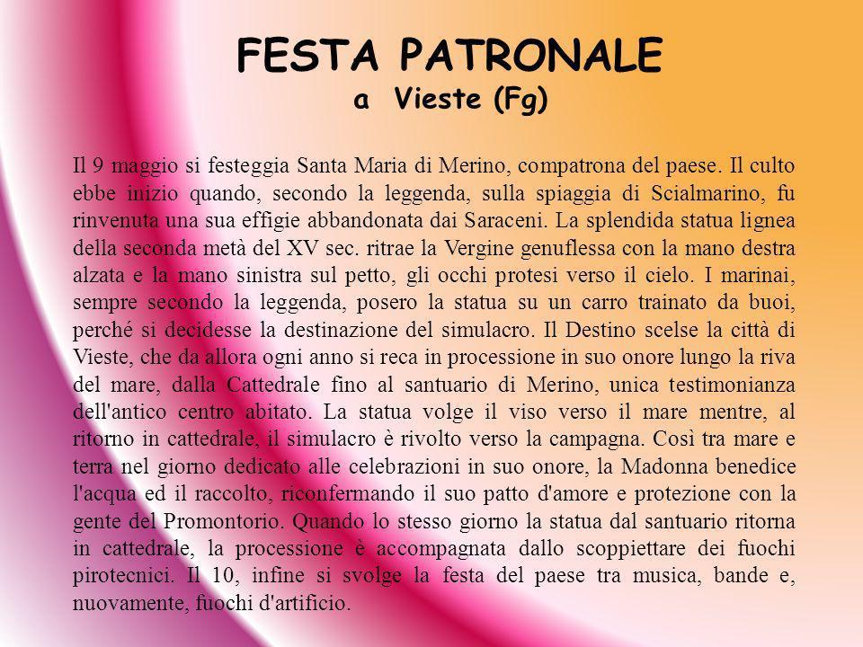 Il 9 maggio si festeggia Santa Maria di Merino, compatrona del paese. Il culto ebbe inizio quando, secondo la leggenda, sulla spiaggia di Scialmarino,