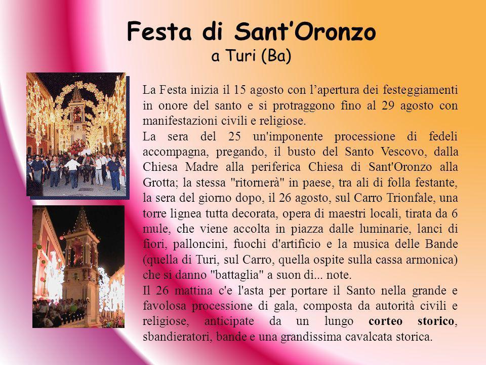 La Festa inizia il 15 agosto con lapertura dei festeggiamenti in onore del santo e si protraggono fino al 29 agosto con manifestazioni civili e religi