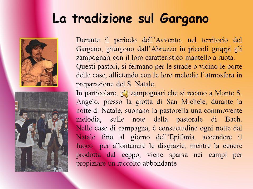 La tradizione sul Gargano Durante il periodo dellAvvento, nel territorio del Gargano, giungono dallAbruzzo in piccoli gruppi gli zampognari con il lor