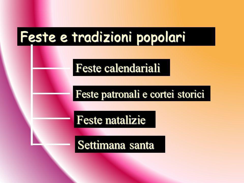 Feste e tradizioni popolari Feste calendariali Feste patronali e cortei storici Feste natalizie Settimana santa
