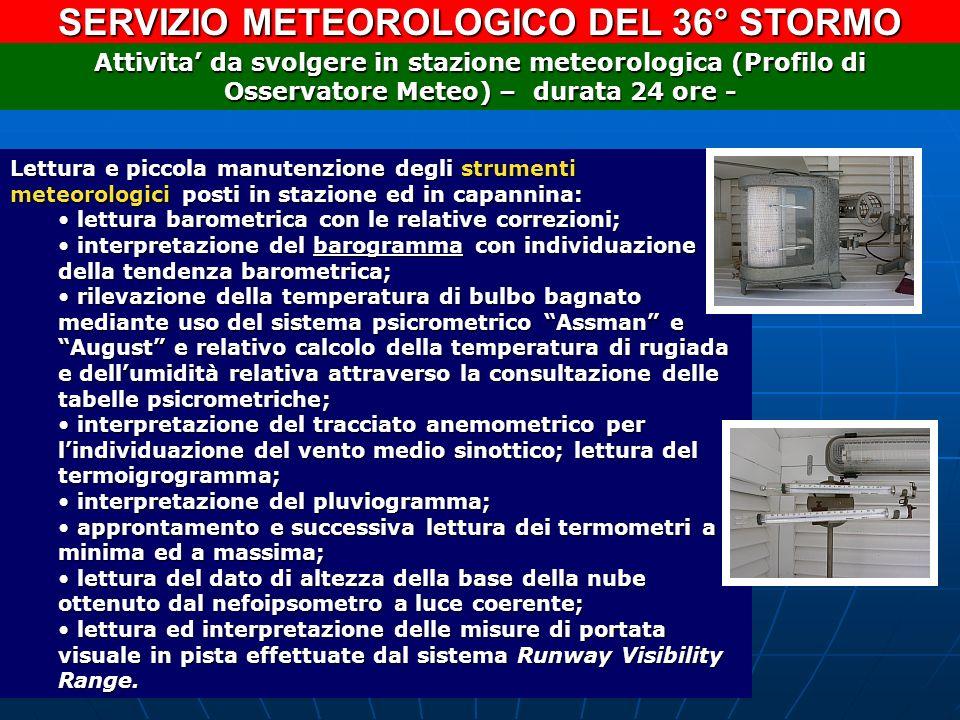 SERVIZIO METEOROLOGICO DEL 36° STORMO Lettura e piccola manutenzione degli strumenti meteorologici posti in stazione ed in capannina: lettura barometr