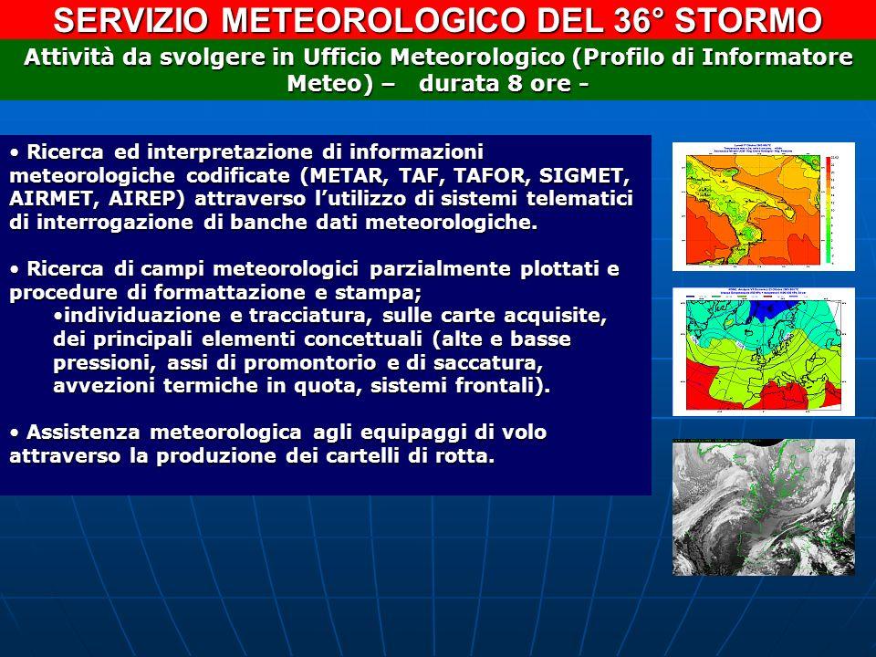 SERVIZIO METEOROLOGICO DEL 36° STORMO Ricerca ed interpretazione di informazioni meteorologiche codificate (METAR, TAF, TAFOR, SIGMET, AIRMET, AIREP)