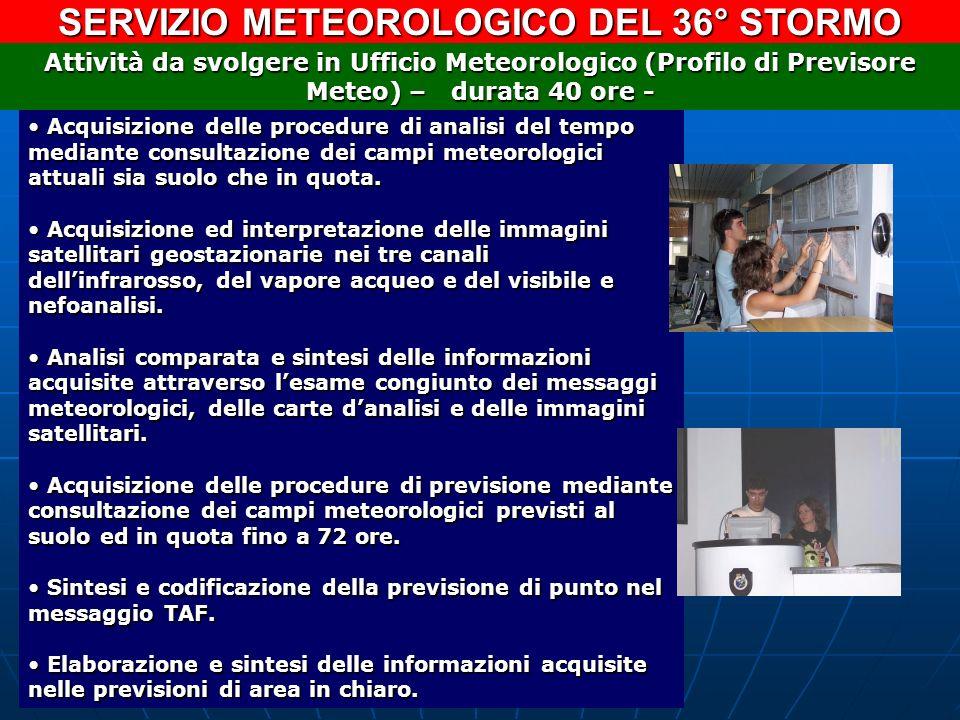 SERVIZIO METEOROLOGICO DEL 36° STORMO Acquisizione delle procedure di analisi del tempo mediante consultazione dei campi meteorologici attuali sia suo