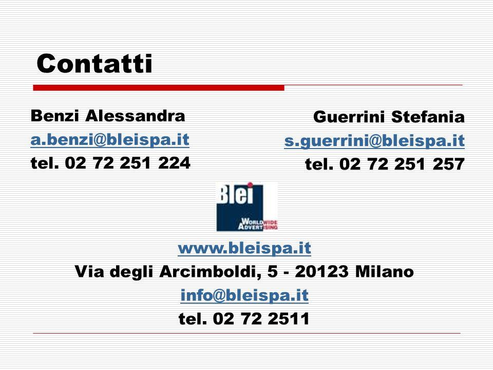 Contatti Benzi Alessandra a.benzi@bleispa.it tel.