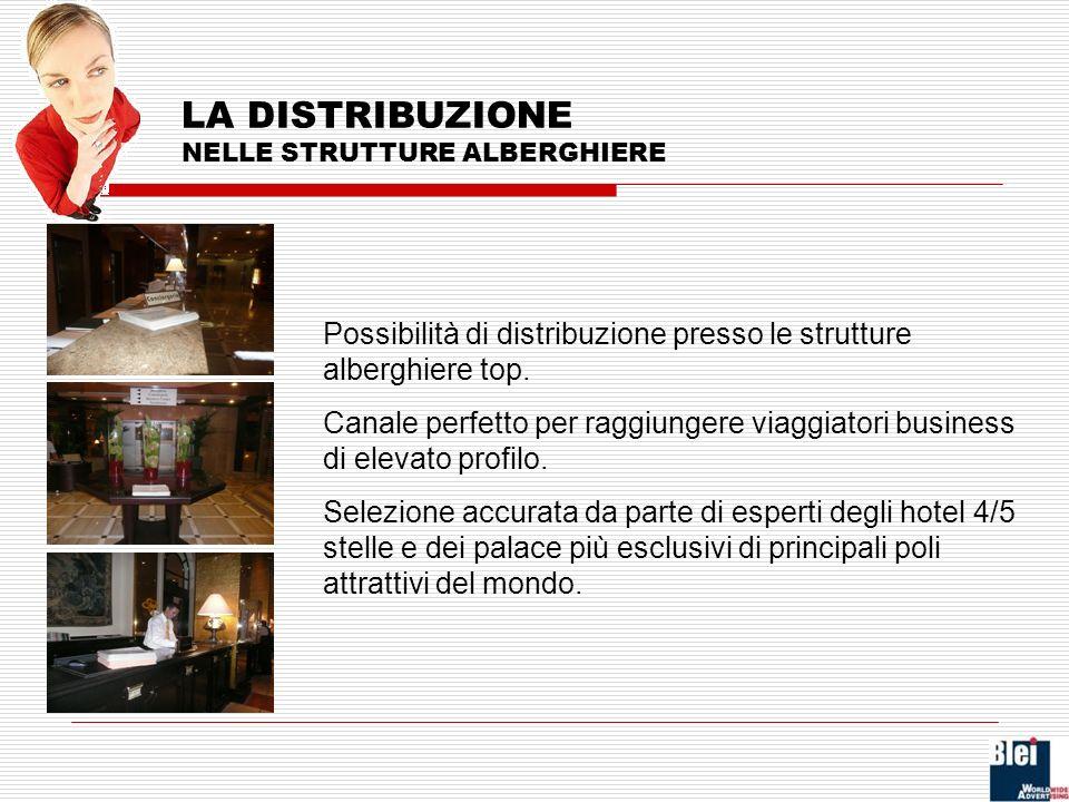Possibilità di distribuzione presso le strutture alberghiere top.