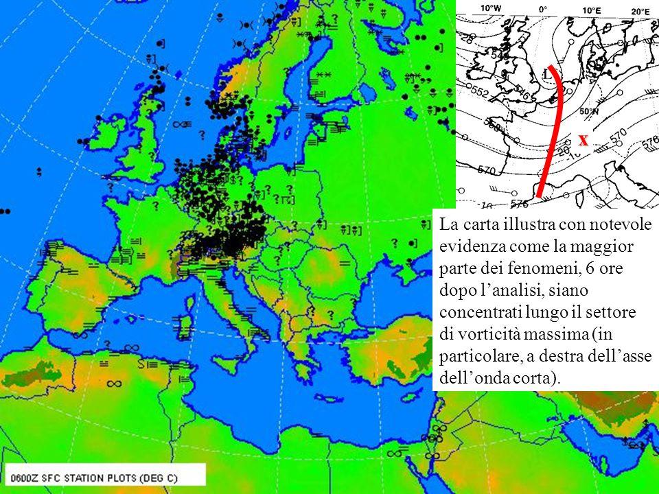 La carta illustra con notevole evidenza come la maggior parte dei fenomeni, 6 ore dopo lanalisi, siano concentrati lungo il settore di vorticità massima (in particolare, a destra dellasse dellonda corta).