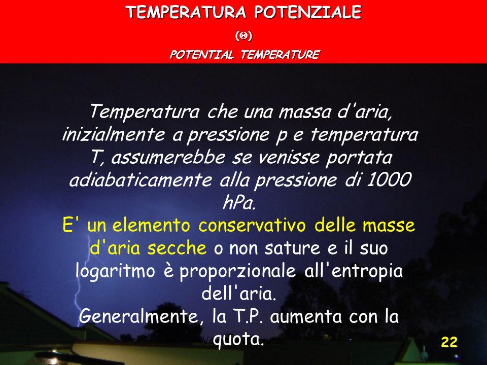 Vittorio Villasmunta 22 TEMPERATURA POTENZIALE ( ) POTENTIAL TEMPERATURE Temperatura che una massa d'aria, inizialmente a pressione p e temperatura T,