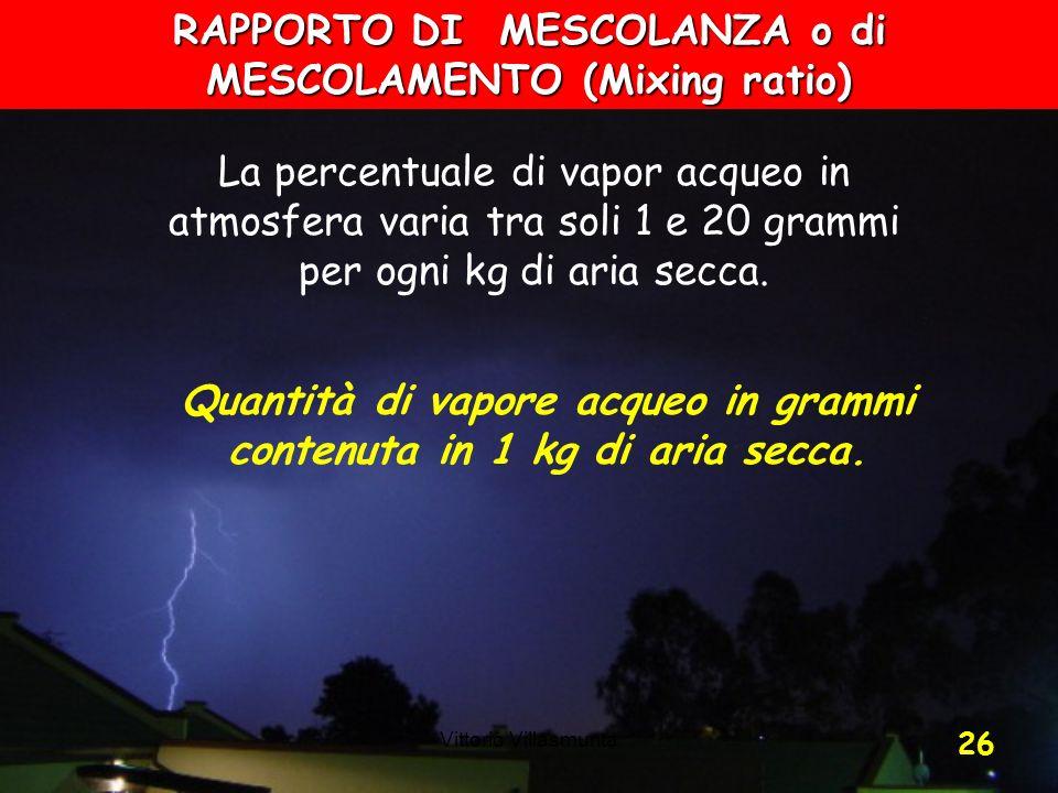 Vittorio Villasmunta 26 La percentuale di vapor acqueo in atmosfera varia tra soli 1 e 20 grammi per ogni kg di aria secca. RAPPORTO DI MESCOLANZA o d