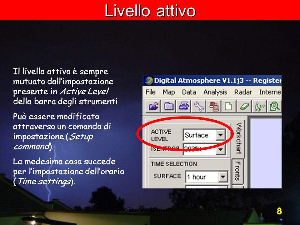 Vittorio Villasmunta 8 Il livello attivo è sempre mutuato dallimpostazione presente in Active Level della barra degli strumenti Può essere modificato