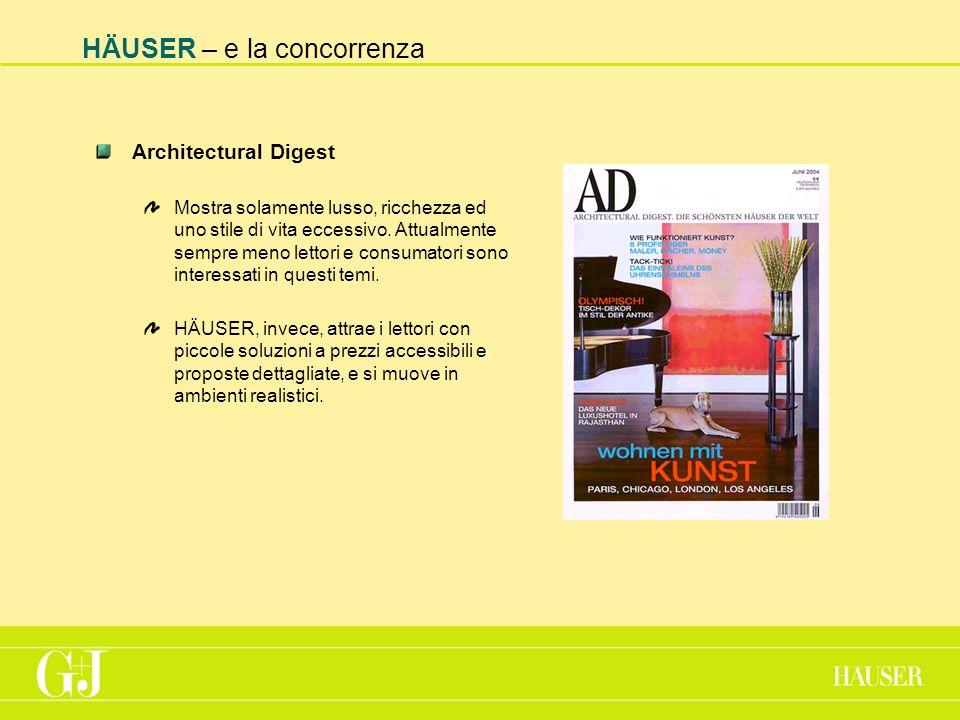HÄUSER – e la concorrenza Architectural Digest Mostra solamente lusso, ricchezza ed uno stile di vita eccessivo.
