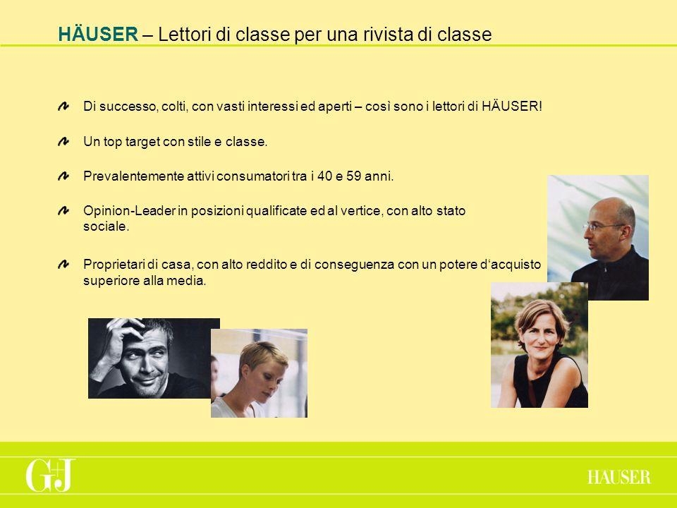 HÄUSER – Lettori di classe per una rivista di classe Di successo, colti, con vasti interessi ed aperti – così sono i lettori di HÄUSER.