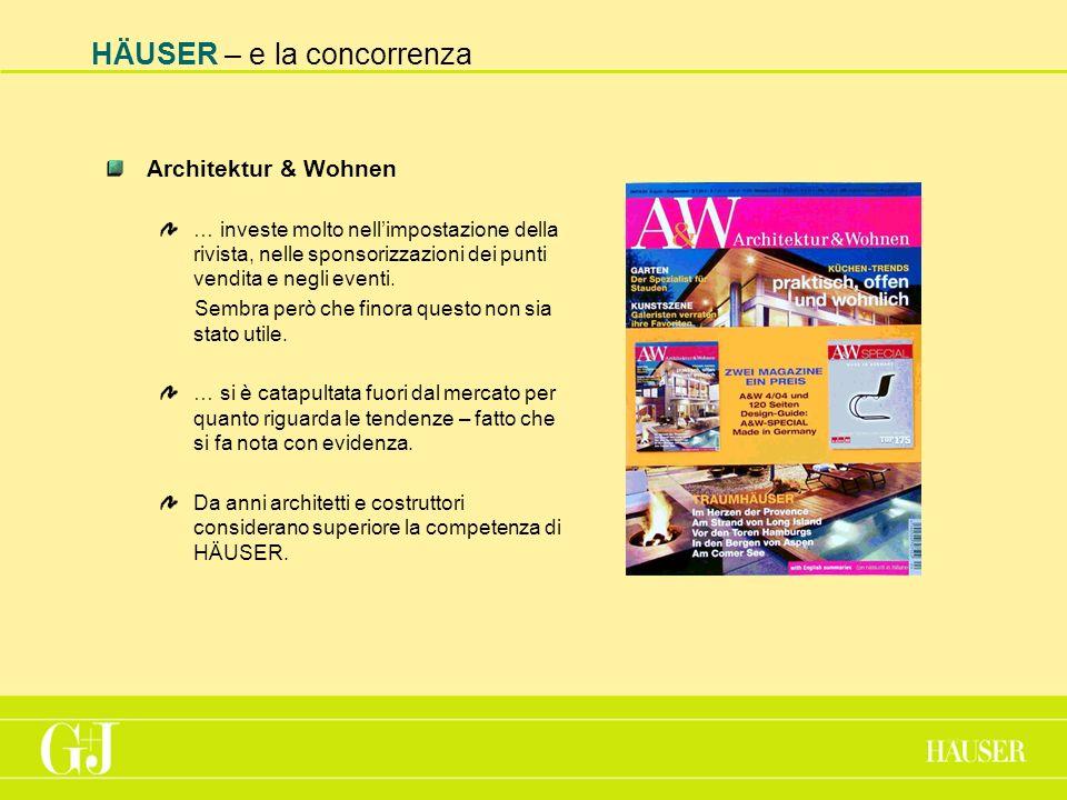 HÄUSER – e la concorrenza Architektur & Wohnen … investe molto nellimpostazione della rivista, nelle sponsorizzazioni dei punti vendita e negli eventi.