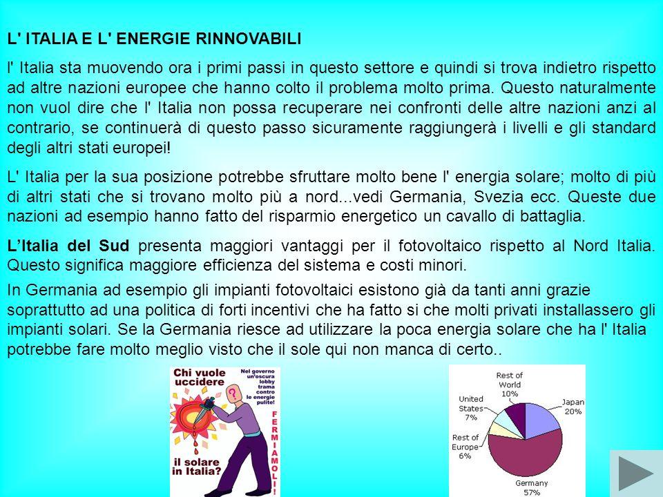 L' ITALIA E L' ENERGIE RINNOVABILI l' Italia sta muovendo ora i primi passi in questo settore e quindi si trova indietro rispetto ad altre nazioni eur