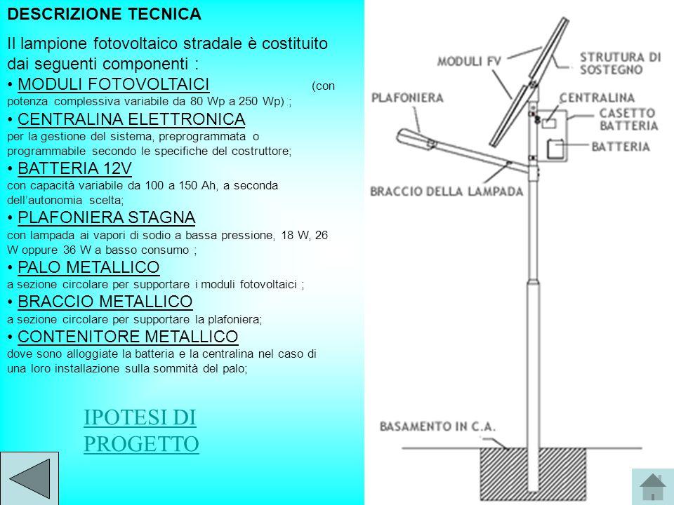 DESCRIZIONE TECNICA Il lampione fotovoltaico stradale è costituito dai seguenti componenti : MODULI FOTOVOLTAICI (con potenza complessiva variabile da