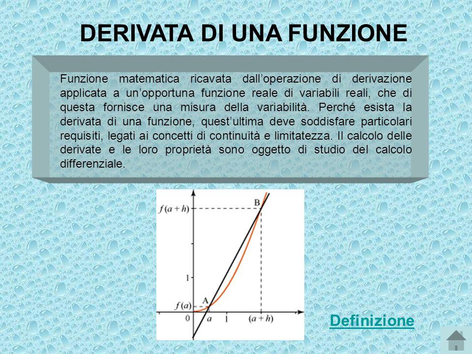 DERIVATA DI UNA FUNZIONE Funzione matematica ricavata dalloperazione di derivazione applicata a unopportuna funzione reale di variabili reali, che di