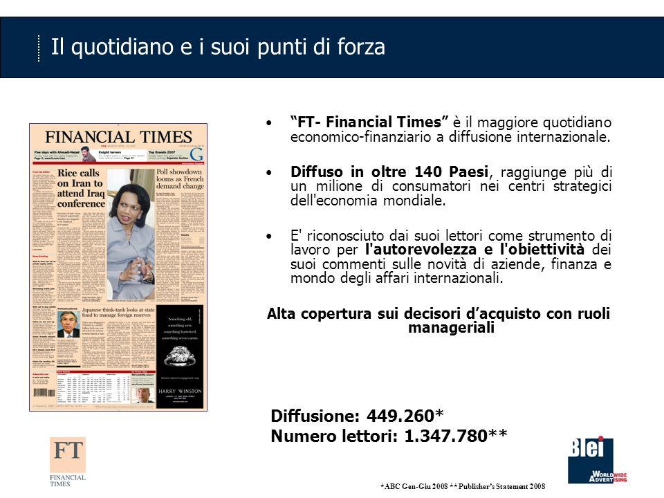 Il quotidiano e i suoi punti di forza FT- Financial Times è il maggiore quotidiano economico-finanziario a diffusione internazionale. Diffuso in oltre